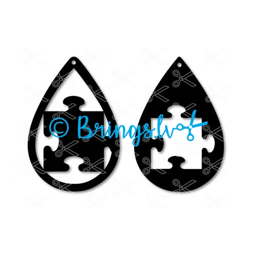 Autism puzzle piece tear drop earrings svg dxf cut file - Autism Puzzle Piece TearDrop Earring SVG DXF