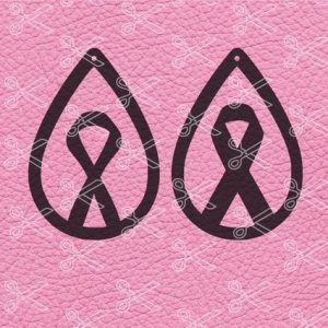 Awareness ribbon tear drop earrings SVG cut file