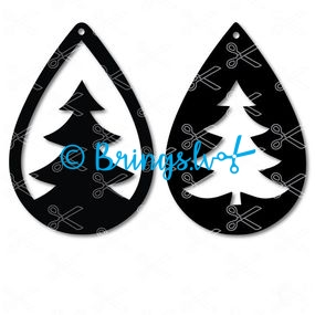 Christmas tree tear drop earrings templates svg and dxf cut files - Christmas Tree TearDrop Earring SVG DXF