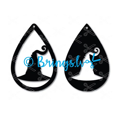 Halloween witch hat tear drop earrings svg and dxf cut file - Halloween Witch Hat TearDrop Earring SVG DXF