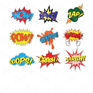 Superhero SVG and DXF files Ooops Wow Pow Bang Zap