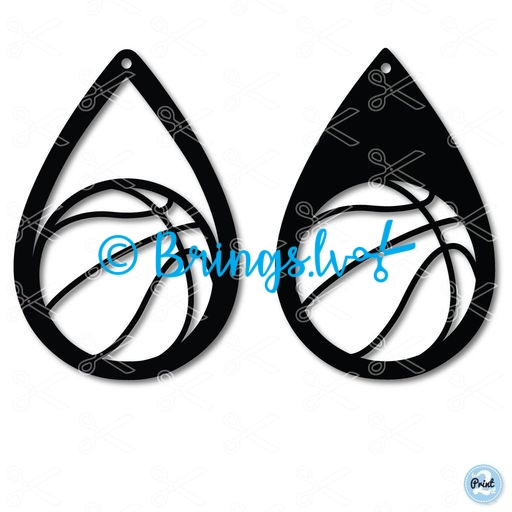 basketball teardrop earring svg