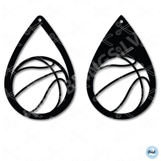 7da62f932 Basketball Sports Tear Drop Earrings SVG and DXF Cut files