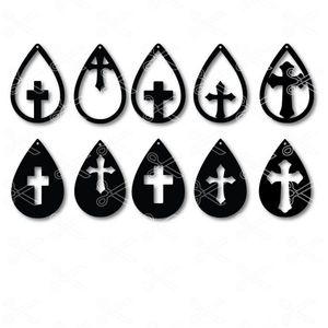 Cross Tear Drop Earrings SVG and DXF Cut files
