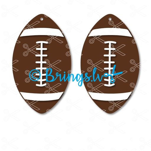 Football ball shape dangle earrings SVG and DXF Sport Fan Earrings Cut File