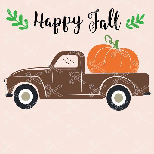 happy fall truck pumpkin svg cut files - Happy Fall Truck with Pumpkin SVG and DXF Cut file