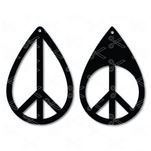 Peace Tear Drop Earrings SVG and DXF Cut files