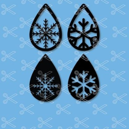 SNOW FLAKES TEAR DROP EARRINGS SVG AND DXF CUT FILES