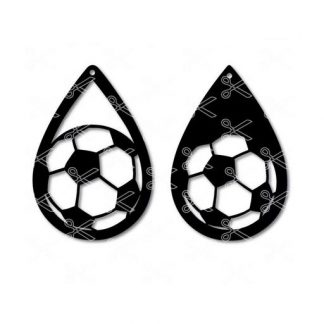 Soccer fan tear drop earring SVG and DXF cutting files