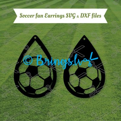 soccer tear drop earrings svg - Soccer TearDrop Earring SVG DXF