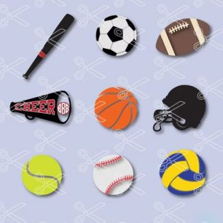 Sports Bundle - Baseball, Football, Tennis, Volleyball, Soccer balls SVG and DXF Cutting Files