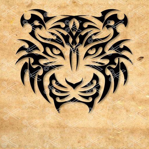 tiger head tatoo svg and dxf cut file - Tiger Head SVG DXF
