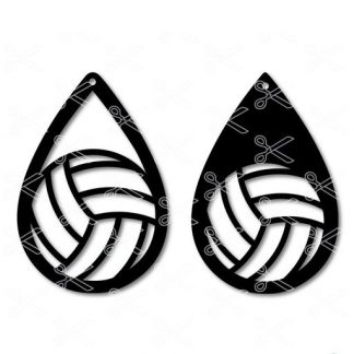 Volleyball Sport Tear Drop Earrings SVG and DXF Cut Files