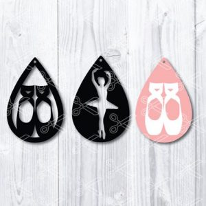 Download Ballet Shoes Tear Drop Earrings SVG and DXF Cut files and use it to your DIY project!