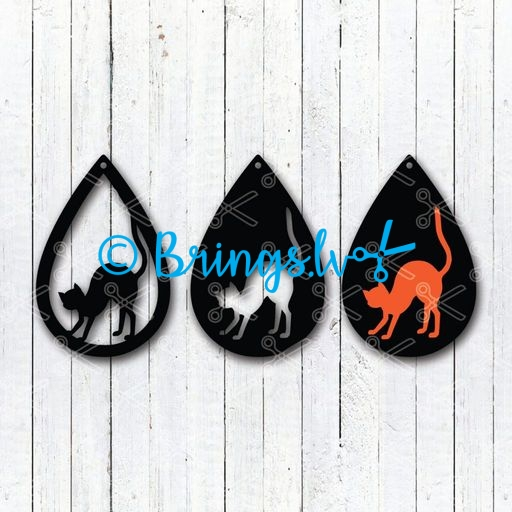 Download Black Cat Halloween Tear Drop Earrings SVG and DXF Cut files and use it to your DIY project!