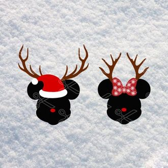 Download Disney Christmas Mickey Mouse Minnie Mouse Deer Face SVG and DXF Cut files and use it to your DIY project!