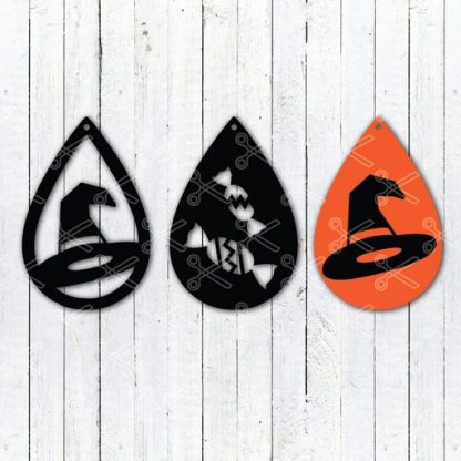 HALLOWEEN WITCH HAT TEAR DROP EARRINGS SVG AND DXF CUT FILES