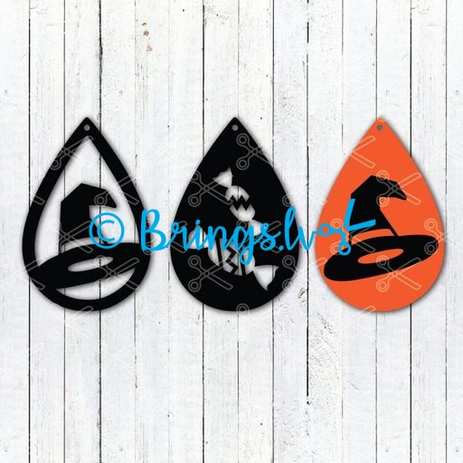 Halloween witch hat tear drop earrings svg and dxf cut files - Halloween Witch Hat TearDrop Earring SVG DXF