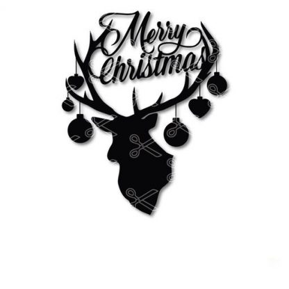 MERRY CHRISTMAS DEER FACE SVG ANDDXF CUT FILES