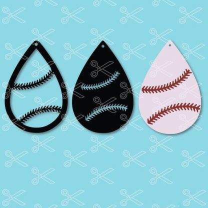 BASEBALL TEAR DROP EARRINGS SVG AND DXF CUT FILES