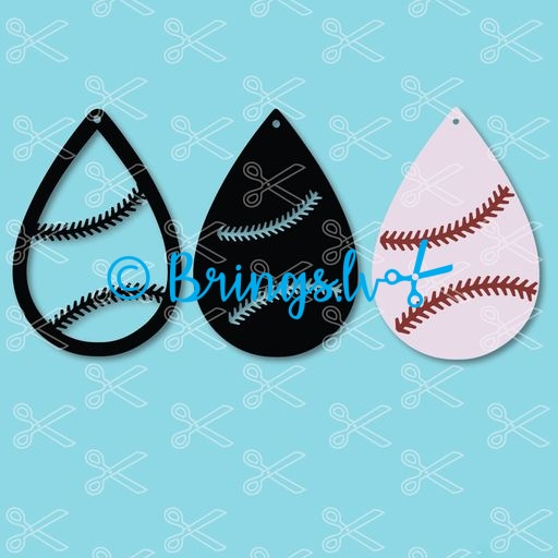 523f17b67 Baseball Tear Drop Earrings SVG and DXF Cut files