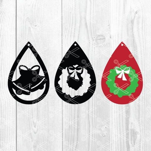 Download Christmas Jingle Bells Advent Wheath Tear Drop Earrings SVG and DXF Cut files and use it to your DIY project!