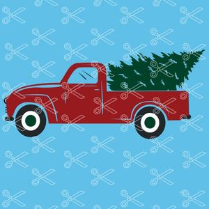 Download Christmas Truck Christmas Tree SVG and DXF Cut files