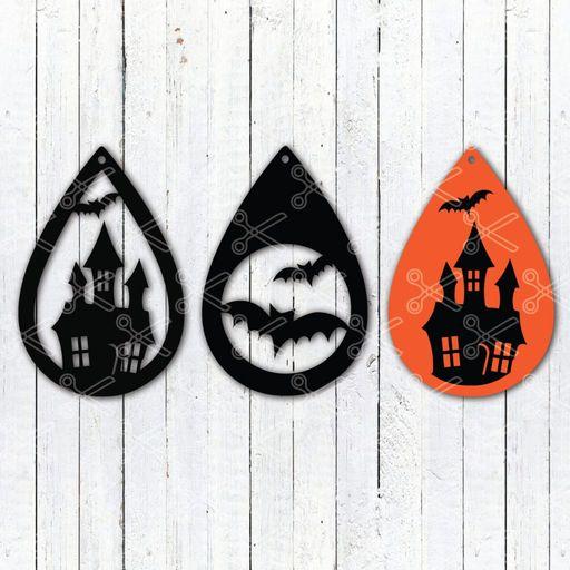 halloween Haunted house tear drop earrings svg and dxf cut files - Halloween Teardrop Earring SVG and DXF Cut files