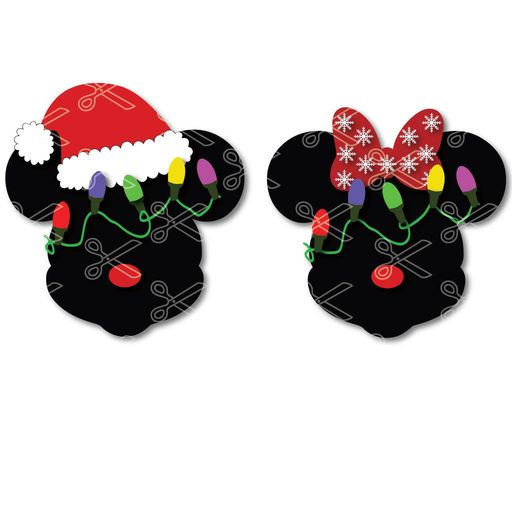 4cde3ff0e65f1 Download Mickey mouse Santa hat and Minnie mouse Christmas Lights SVG and  DXF Cut files and
