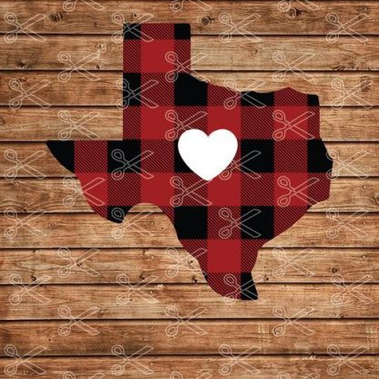 TEXAS HEART BUFFALO PLAID MAP SVG AND DXF CUT FILE