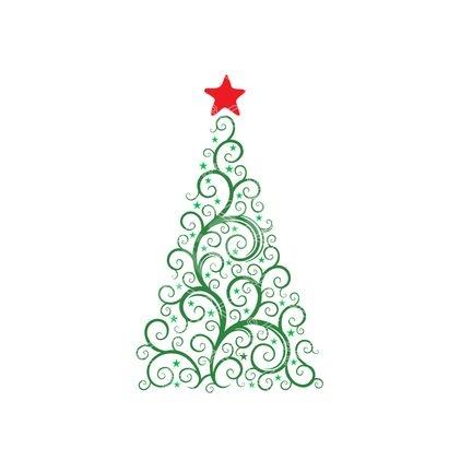 Christmas Tree Elegant Swirl Christmas Decoration Svg And Dxf Cut Files