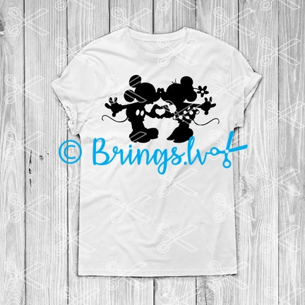 Minnie And Mickey Kissing Black And White
