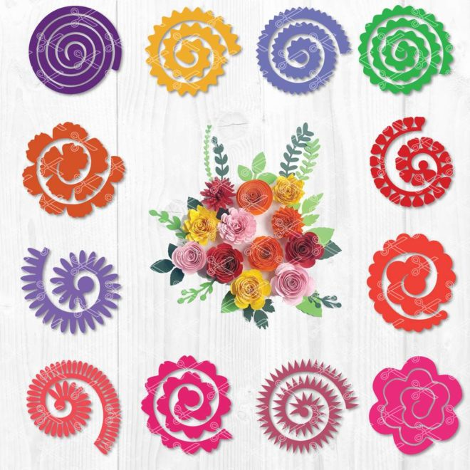 Rolled Flowers SVG