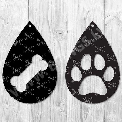 Paw Print TearDrop Earring SVG