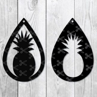 Pineapple teardrop Earring Svg