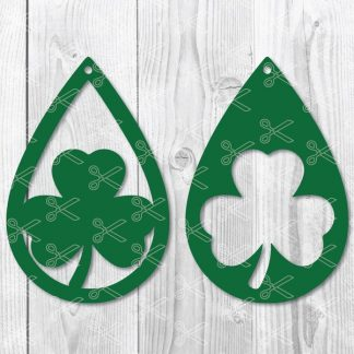 Shamrock St. Patricks Day Teardrop Earring SVG file