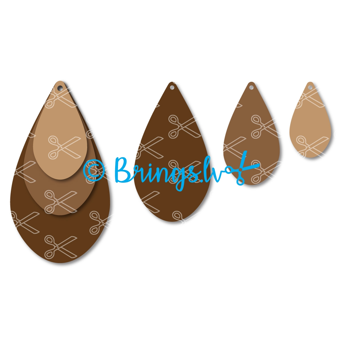 Stacked TearDrop Earrings SVG-