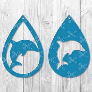 Dolphin Teardrop Earring SVG