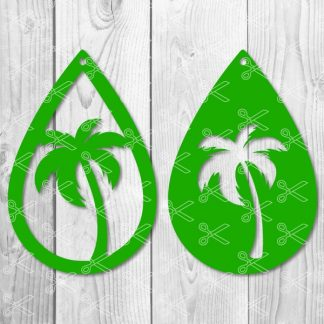 Palm Tree Teardrop Earring SVG