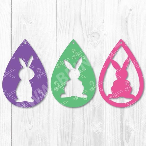 bunny teardrop earring svg 1 - Bunny TearDrop Earring SVG DXF PNG File