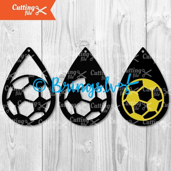 soccer teardrop earring svg