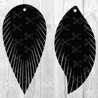 Feather Fringe Earring SVG DXF Cut File