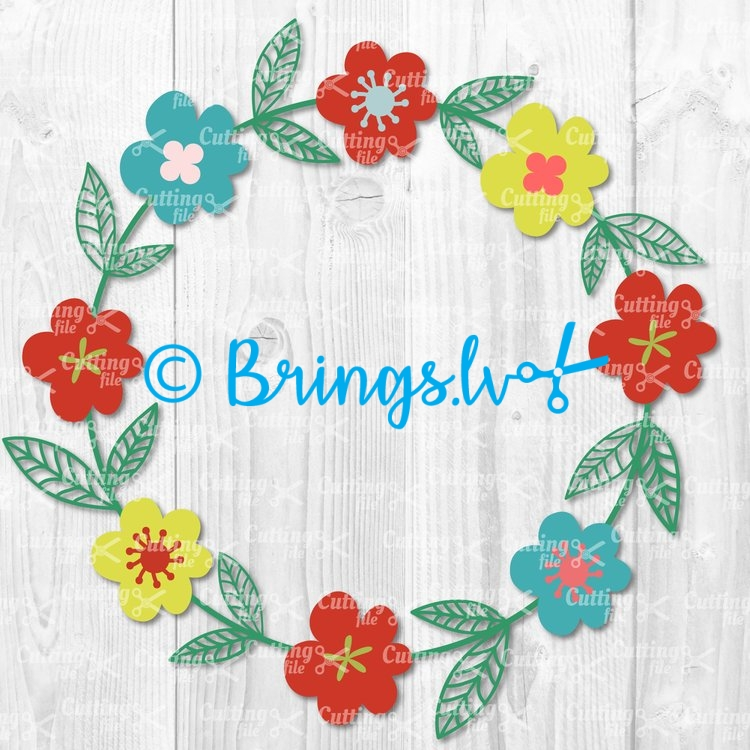 flower wreath svg cut file