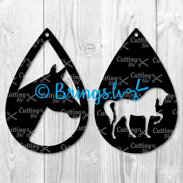horse teardrop earring svg template
