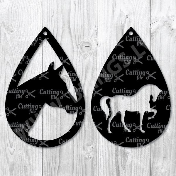 horse teardrop earring svg template
