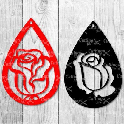 rose teardrop earring themplate svg