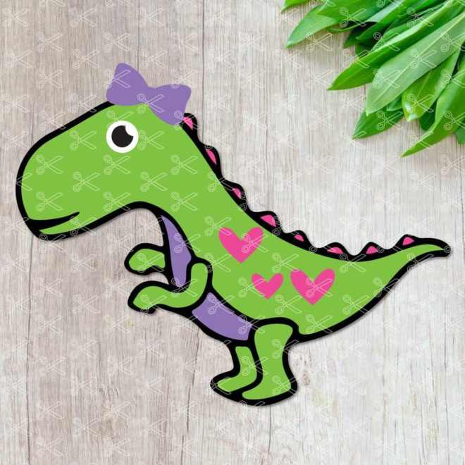 Girl Dinosaur SVG Cut File