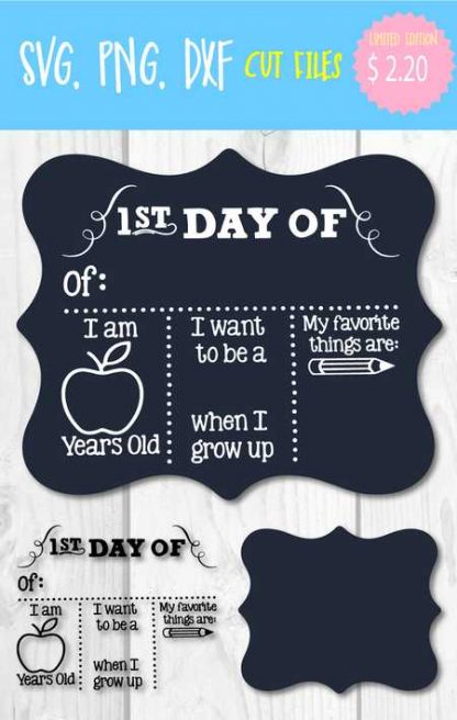 FIRST DAY OF SCHOOL CHALKBOARD SVG