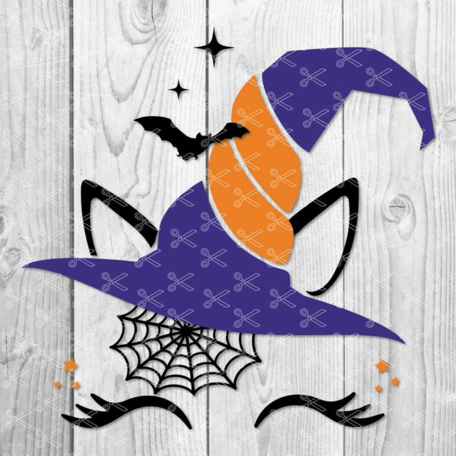 Halloween Unicorn with lashes svg