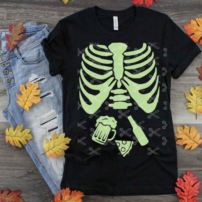 Halloween Pregnancy Skeleton Tee Shirt Design